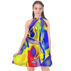 Yellow Triangles Abstract Halter Neckline Chiffon Dress  by bloomingvinedesign