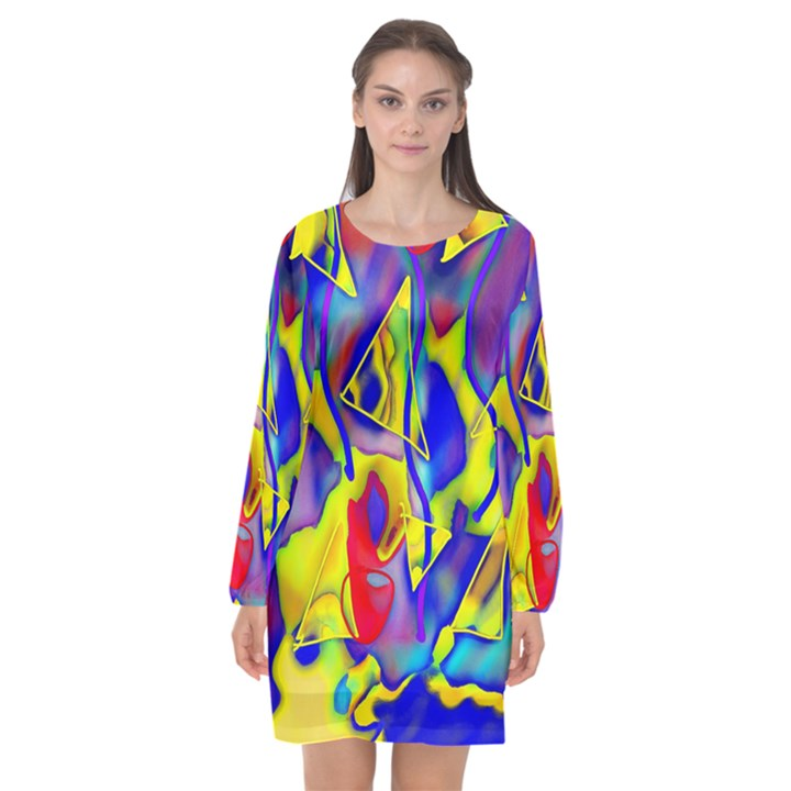 Yellow triangles abstract Long Sleeve Chiffon Shift Dress