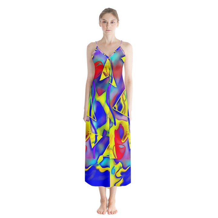 Yellow triangles abstract Button Up Chiffon Maxi Dress