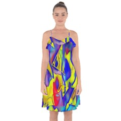 Yellow Triangles Abstract Ruffle Detail Chiffon Dress by bloomingvinedesign