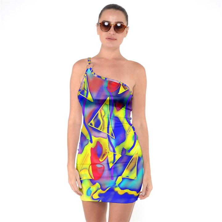 Yellow triangles abstract One Soulder Bodycon Dress