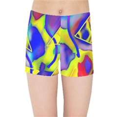 Yellow Triangles Abstract Kids  Sports Shorts by bloomingvinedesign