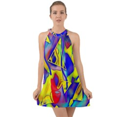 Yellow Triangles Abstract Halter Tie Back Chiffon Dress by bloomingvinedesign