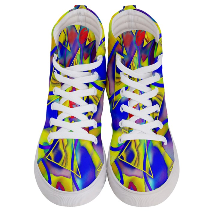 Yellow triangles abstract Women s Hi-Top Skate Sneakers