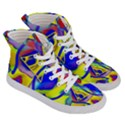 Yellow triangles abstract Women s Hi-Top Skate Sneakers View3