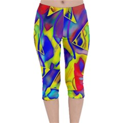 Yellow Triangles Abstract Velvet Capri Leggings