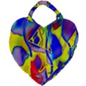 Yellow triangles abstract Giant Heart Shaped Tote View1