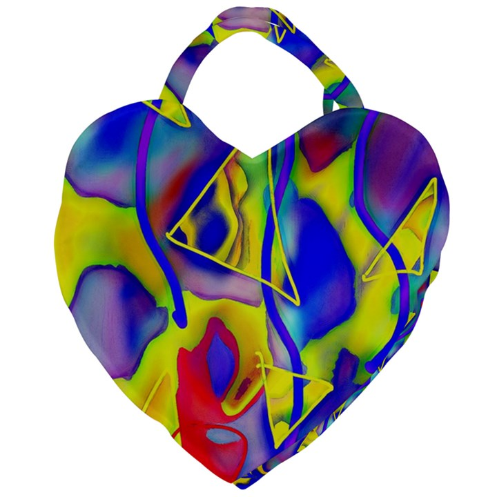 Yellow triangles abstract Giant Heart Shaped Tote