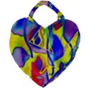 Yellow triangles abstract Giant Heart Shaped Tote View2