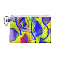 Yellow Triangles Abstract Canvas Cosmetic Bag (medium)