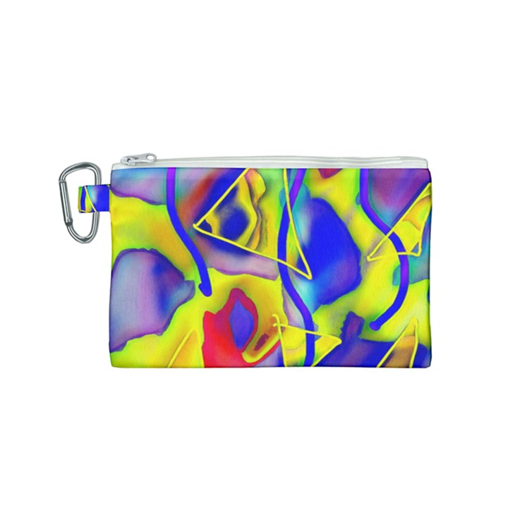 Yellow triangles abstract Canvas Cosmetic Bag (Small)