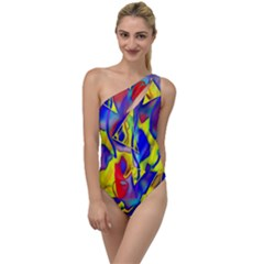 Yellow Triangles Abstract To One Side Swimsuit by bloomingvinedesign