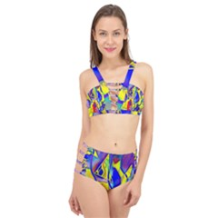 Yellow Triangles Abstract Cage Up Bikini Set by bloomingvinedesign