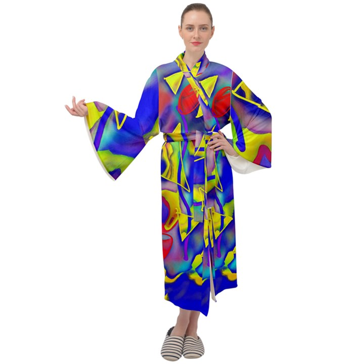 Yellow triangles abstract Maxi Velour Kimono