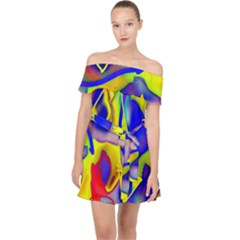 Yellow Triangles Abstract Off Shoulder Chiffon Dress by bloomingvinedesign