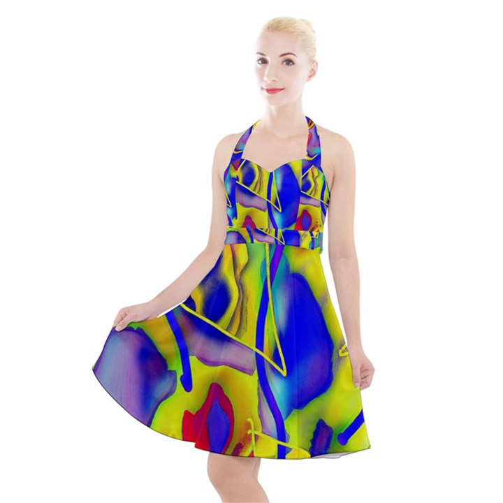 Yellow triangles abstract Halter Party Swing Dress