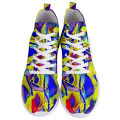 Yellow Triangles Abstract Men s Lightweight High Top Sneakers