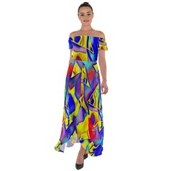 Yellow Triangles Abstract Off Shoulder Open Front Chiffon Dress