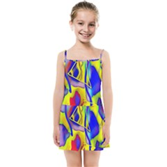 Yellow Triangles Abstract Kids  Summer Sun Dress