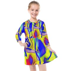 Yellow Triangles Abstract Kids  Quarter Sleeve Shirt Dress by bloomingvinedesign
