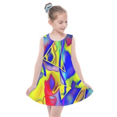 Yellow Triangles Abstract Kids  Summer Dress by bloomingvinedesign