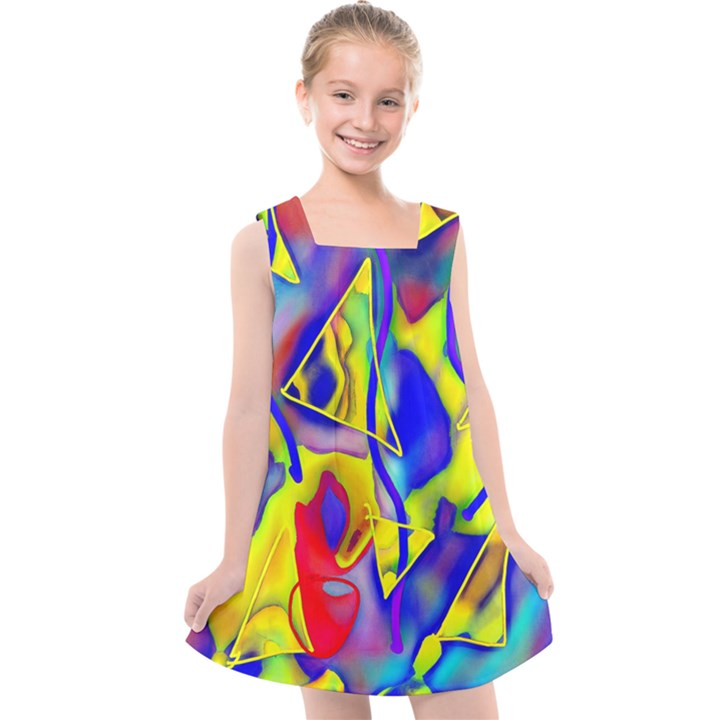 Yellow triangles abstract Kids  Cross Back Dress