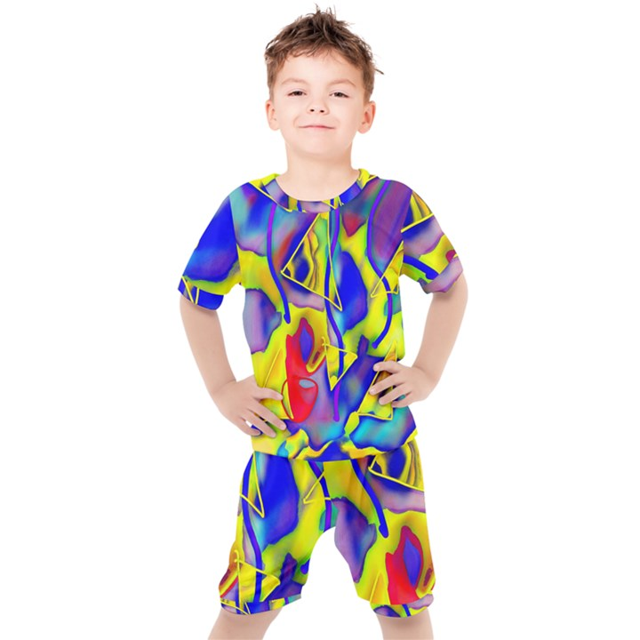 Yellow triangles abstract Kids  Tee and Shorts Set