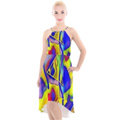 Yellow Triangles Abstract High-low Halter Chiffon Dress  by bloomingvinedesign