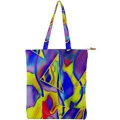 Yellow Triangles Abstract Double Zip Up Tote Bag