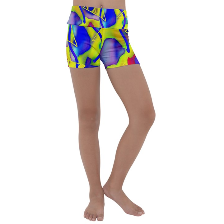 Yellow triangles abstract Kids  Lightweight Velour Yoga Shorts