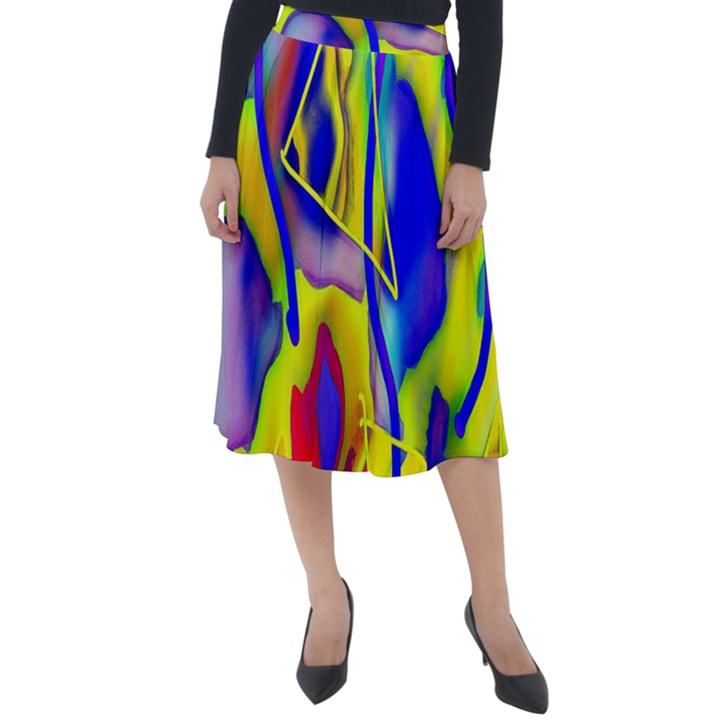 Yellow triangles abstract Classic Velour Midi Skirt