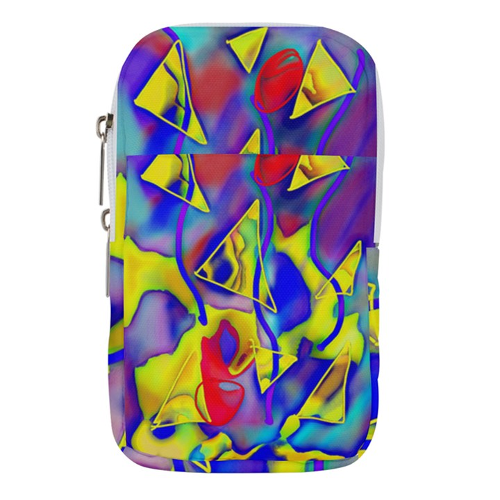 Yellow triangles abstract Waist Pouch (Large)