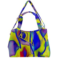 Yellow Triangles Abstract Double Compartment Shoulder Bag