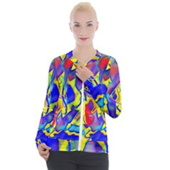 Yellow Triangles Abstract Casual Zip Up Jacket