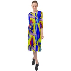 Yellow Triangles Abstract Ruffle End Midi Chiffon Dress by bloomingvinedesign