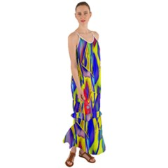 Yellow Triangles Abstract Cami Maxi Ruffle Chiffon Dress by bloomingvinedesign