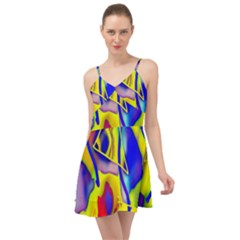 Yellow Triangles Abstract Summer Time Chiffon Dress