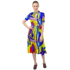Yellow Triangles Abstract Keyhole Neckline Chiffon Dress by bloomingvinedesign