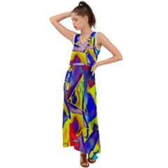 Yellow Triangles Abstract V-neck Chiffon Maxi Dress by bloomingvinedesign