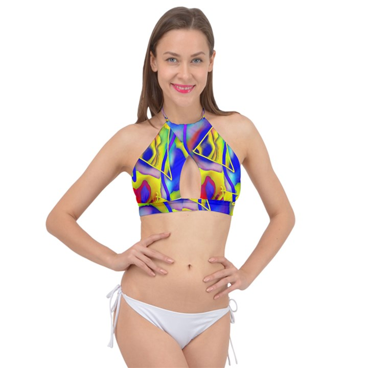 Yellow triangles abstract Cross Front Halter Bikini Top