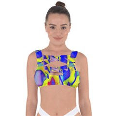 Yellow Triangles Abstract Bandaged Up Bikini Top