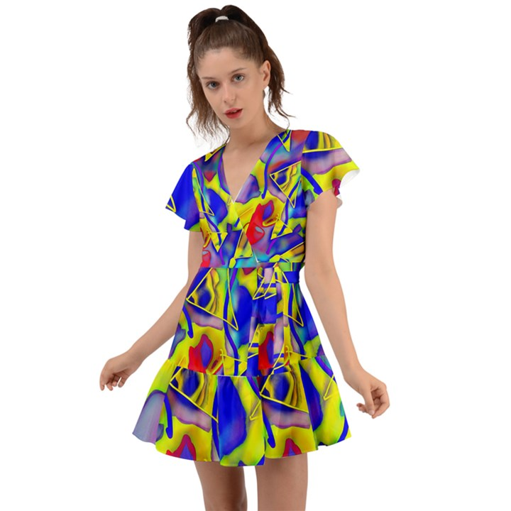 Yellow triangles abstract Flutter Sleeve Wrap Dress