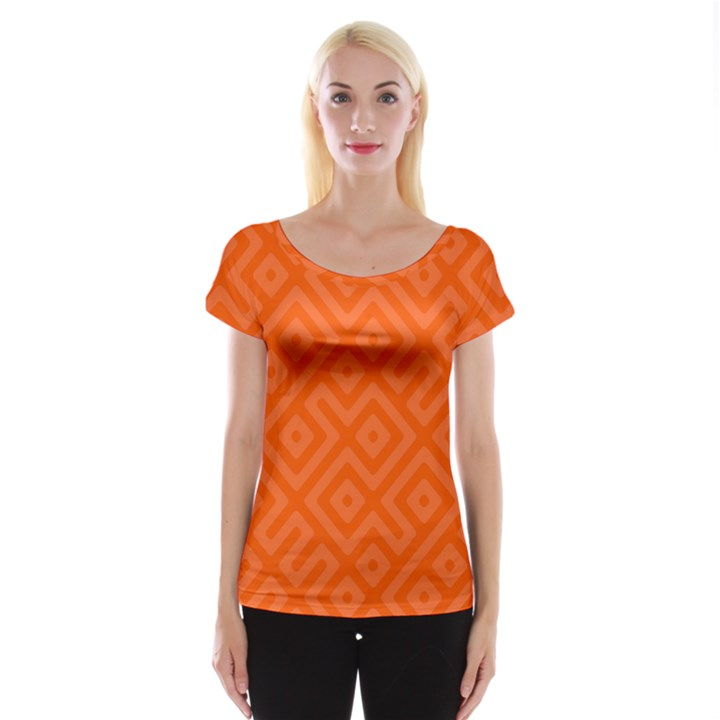 Orange Maze Cap Sleeve Top