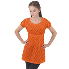 Orange Maze Puff Sleeve Tunic Top