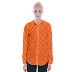 Orange Maze Womens Long Sleeve Shirt
