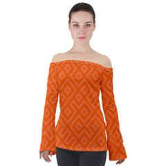 Orange Maze Off Shoulder Long Sleeve Top by retrotoomoderndesigns