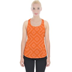 Orange Maze Piece Up Tank Top