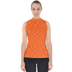 Orange Maze Mock Neck Shell Top