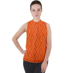Orange Maze Mock Neck Chiffon Sleeveless Top