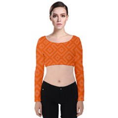 Orange Maze Velvet Long Sleeve Crop Top